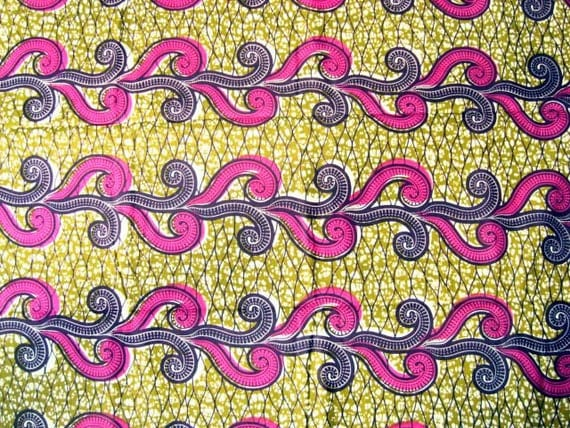 Pink curls African wax print batik fabric BY THE YARD 100% cotton.