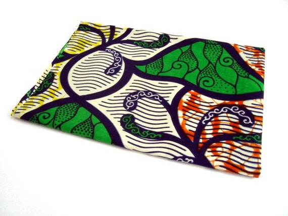 African wax print fat quarter 100% cotton (Green. Yellow and Orange ivy)