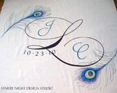 Aisle Runner, Wedding Aisle Runner, Custom Aisle Runner with Original Hand Drawn Peacock Feather Artwork//Quality Fabric that Won't Tear