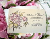 Custom Wedding Invitation Handpainted with Watercolor Rose