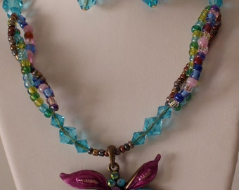 Turquoise and Pink Butterfly Necklace and Earrings