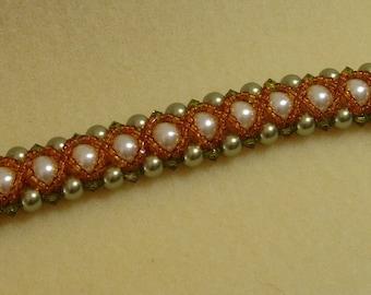 Cross Weave Swavorski Pearl and Crystal Bracelet