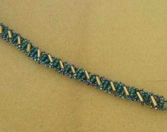 Aqua and Gold Seed Bead Bracelet