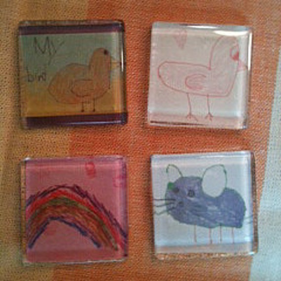 Set of 4 Magnets - 4 Outstanding Drawings by Beatrice -Includes the Popular Purple Mouse and My Bird - Sale Benefits SweetBea