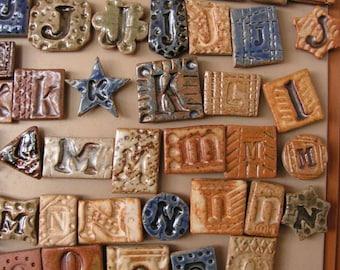 Stoneware Letter Tiles on Magnets