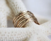 Stack rings - hammered organic ring set of seven14k gold filled rings