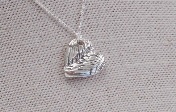 Fingerprint Jewelry - Guardian Angel Wing Heart Pendant