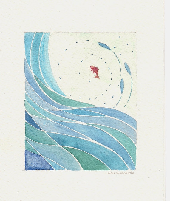 Fish and wave -  abstract blue  original watercolor painting