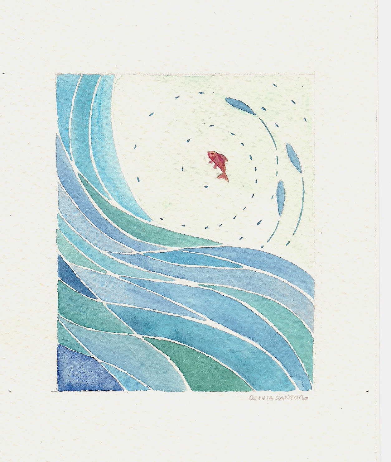 Fish And Wave Abstract Blue Original Watercolor Painting