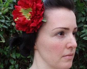 Jeweled Red Peony Hair Clip