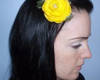Yellow Ranunculus Hair Clip