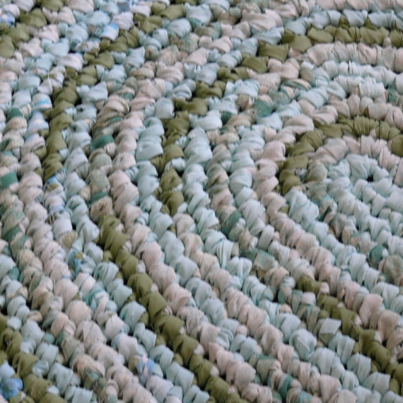 Crocheted Oval Rag Rug Aqua And Sage Green