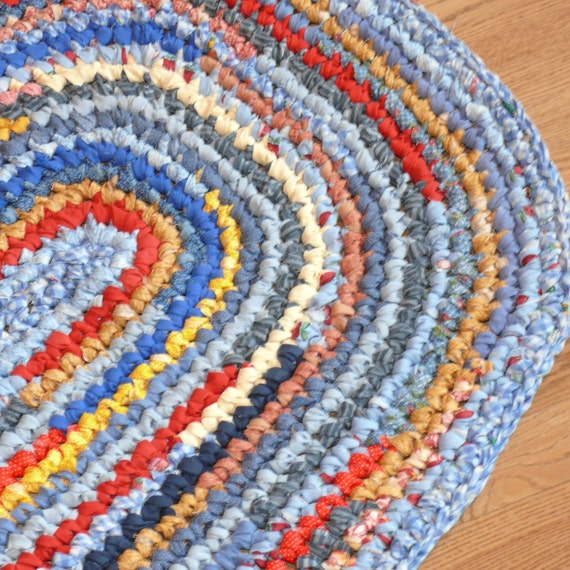 Crocheted Oval Rag Rug Blues Reds And Golden By