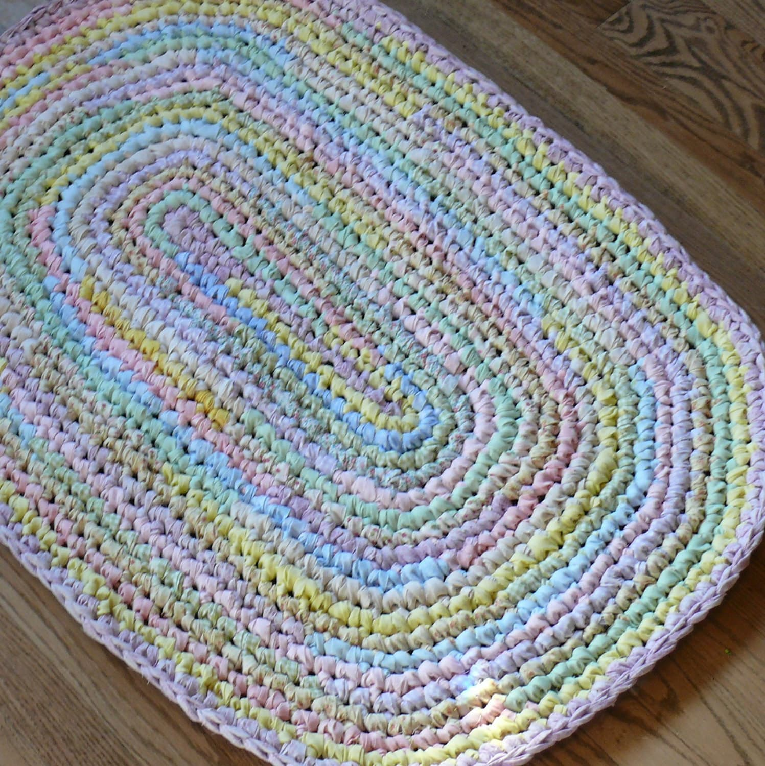 Crocheted Oval Rag Rug Pastel Colors