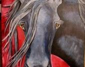 ORIGINAL - MAJESTIC SPIRIT - Black Frieisian Horse Painting - ORIGINAL