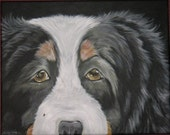 PATIENTLY WAITING Bernese Mountain Dog ORIGINAL PAINTING ART