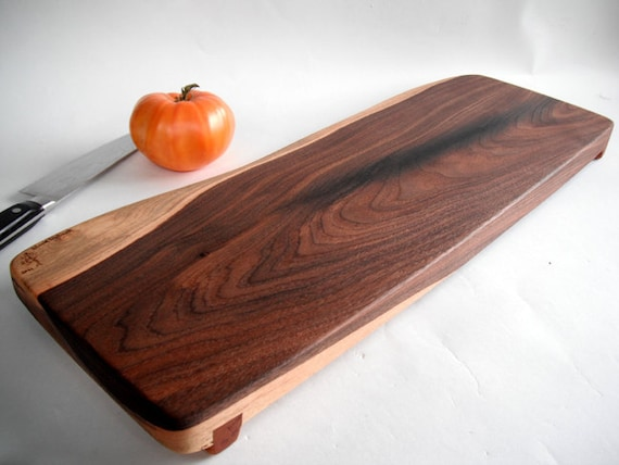long reclaimed beautiful black walnut raised cutting board