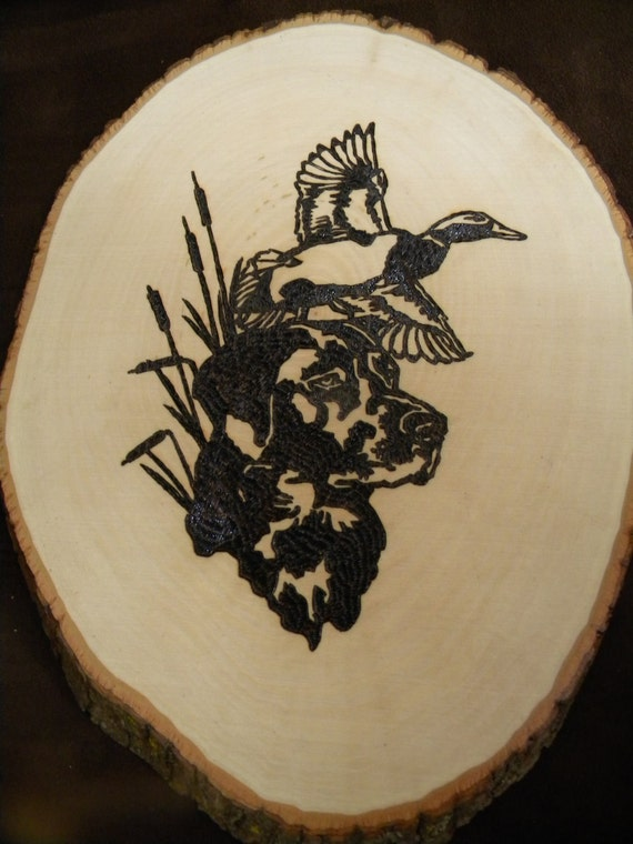 Hunting Dog with Duck Woodburning