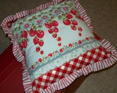 Vintage Tablecloth Pillow with Strawberries