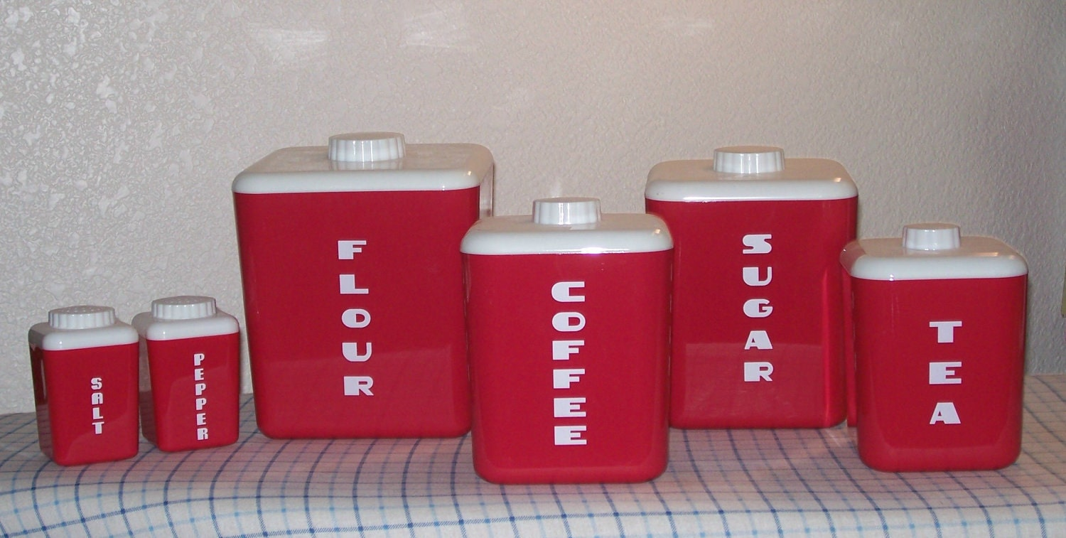 Red Plastic Kitchen Canisters Salt And Pepper By Maryannsworkshop