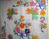 Quilted wall art  Rainbow  Tulips