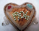 Antique 100 year old beaded Whimsey pin cushion from 1906