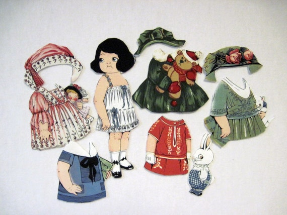 Reproduction  Fabric Paper Doll with  outfits (Veronica)