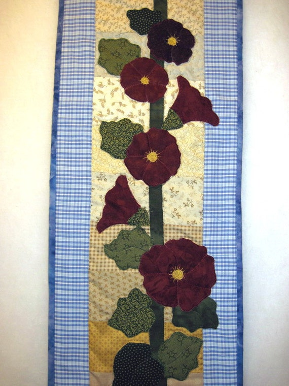 Hollyhock Applique Quilted  Wall hanging