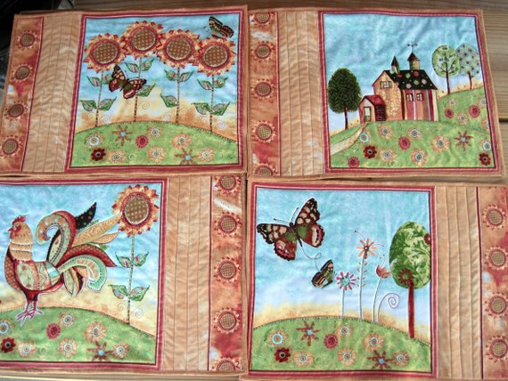 Quilted Placemat set of 4 - Greet the Day
