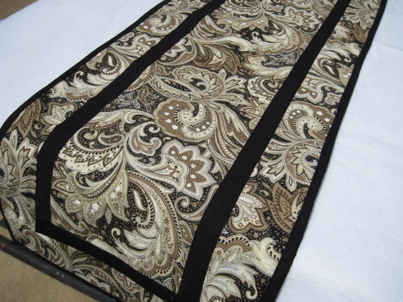 table runner black and tan paisley by kellettkreations on etsy