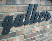 Black Gather Sign - Wood Wall Decor - Family Room - Kitchen - 28 X 12 - Gallery Wall Decor - Signage - Easter and Holiday Decor