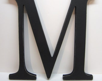 Wood Letter M Sign - 15 Inch - Black - Distressed - Initial - Monogram - Personalized - Wedding Decor - Nursery Decor - Gallery Wall Decor
