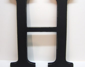 Wood Letter H Sign - 15 Inch - Black - Distressed - Initial - Monogram - Personalized - Nursery Decor - Wedding Decor - Gallery Wall Decor