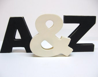 Wood Letter Trio - 5 Inch Shelf Sitter Style - Pick Two Letters & Ampersand - Choose Color Combo - Wedding Decor - Display - Wood Decor