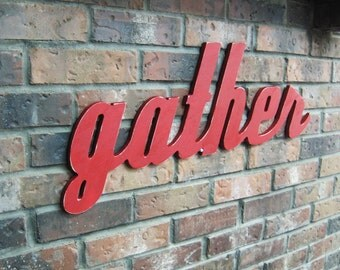 Red Gather Sign - Wood Wall Decor - Family Room - Kitchen - 28 X 12 - Signage - Gallery Wall Decor - Thanksgiving and Holiday Decor