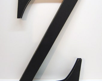 Wood Letter Z Sign - 15 Inch - Black - Distressed - Initial - Monogram - Personalized - Nursery Decor - Wedding Decor - Gallery Wall Decor