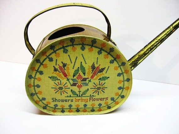 Vintage Metal Watering Can - Cross Stitch Design - Showers Bring Flowers