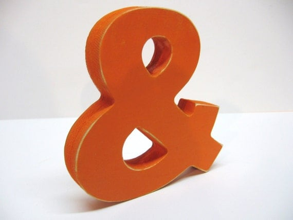Wood Ampersand Sign  - & -  5 Inch Shelf Sitter Style - Painted Orange - Distressed - Typography - Wedding - Coworker Gift - Corporate Gift