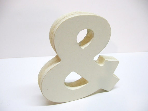 Wood Ampersand Sign - & - 5 Inch Shelf Sitter Style - Painted Off White - Distressed - Typography - Wedding - Corporate Gift - Coworker Gift