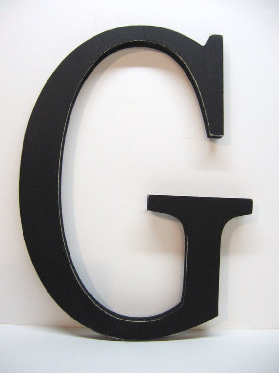 Wood Letter G Sign - 15 Inch - Black - Distressed - Initial - Monogram - Personalized - Nursery Decor- Wedding Decor - Gallery Wall Decor