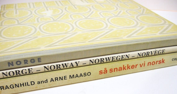 Vintage Book Bundle - 3 Norway Books - Reference and How to Speak Norwegian - Photo Prop - Wedding Decor