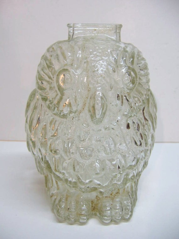 Vintage clear glass owl bank marked wise old by dimestorevintage - Wise old owl glass bank ...