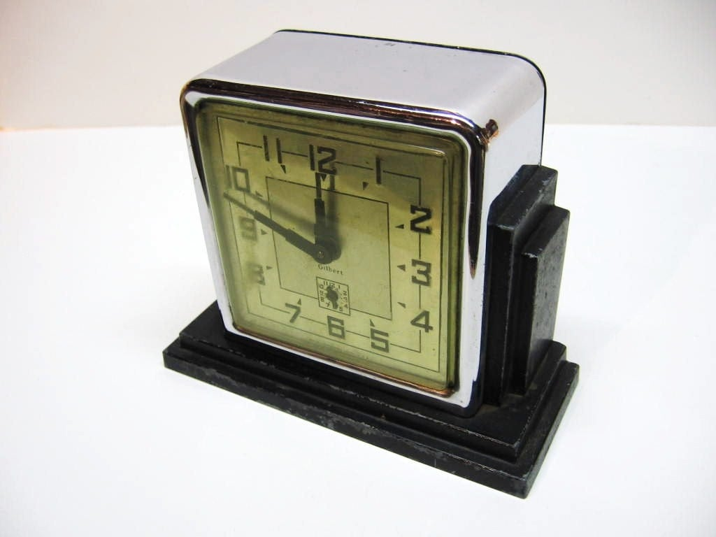 Fabulous art deco alarm clock metal chrome by Art deco alarm clocks
