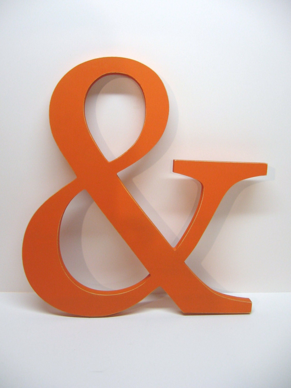 Wood Ampersand Sign 15 Inches Painted Tangerine Orange