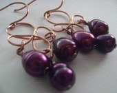 Purple Pearl Clover Earrings