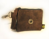SALE PRICED - Small Leather Pouch - Upcycled Cocoa Brown Suede Leather - Money/Lipstick Holder - CARLA - Custom Orders Available