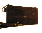 Large Wallet - Upcycled Dark Chocolate Brown Faux Suede Leather - Clutch - ANNIE