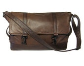 Large Leather Messenger Bag - Two Tone Leather - Travel Bag - Laptop Bag - Large Briefcase -  TAYLOR - Custom Made to Order