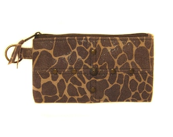 SALE PRICED Suede Giraffe Leather Wallet or Clutch - ANNIE