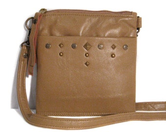 SALE PRICED Petite Leather Messenger - Light Camel Lamb Leather - Antique Brass Stud Detail - TASHA